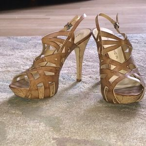 Cork wedge platform heel